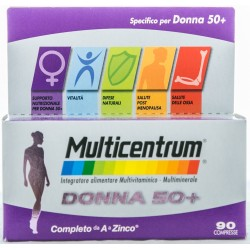 PFIZER MULTICENTRUM DONNA 50+ INTEGRATORE ALIMENTARE MULTIVITAMINICO E MULTIMINERALE 90 COMPRESSE 147g
